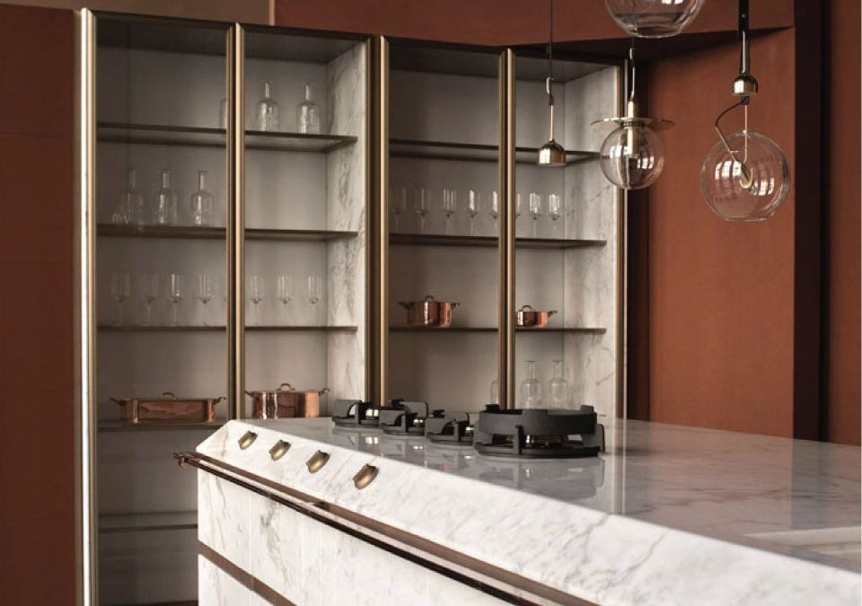 White Marble Bench in a Bar with Pendant Modern Lamps and Walls Painted in Warm Brown