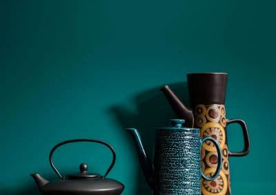 Totally Teal high gloss Alusplash splashback with oriental tea pots