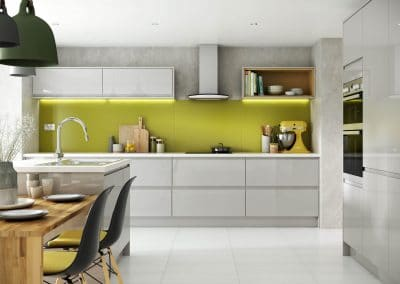 White kitchen with a pop of colour given by a coloured high gloss splashback in Olive Green from Alusplash