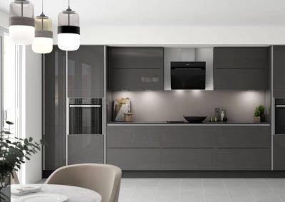 Modern kitchen with a high gloss latte Alusplash splashback and chopper board