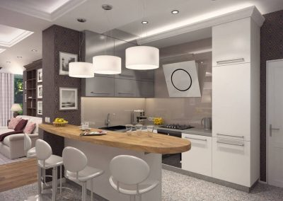 Modern kitchen with a Latte AluSplash splashback and matt grey countertop with wooden dining table