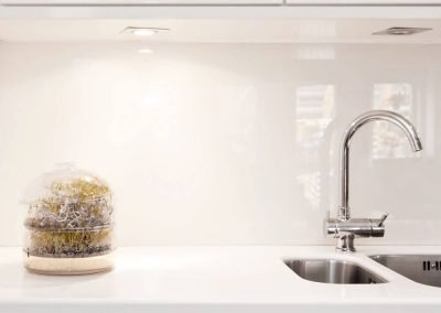 White kitchen with a high gloss Ice White Alusplash splashback with flowers on the countertop