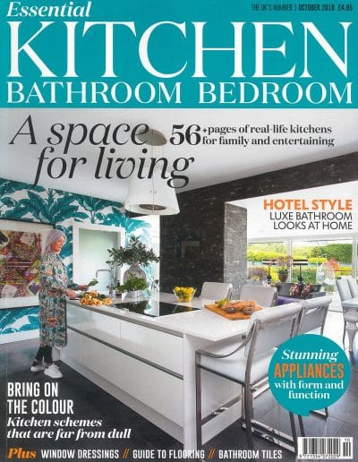 Alusplash splashbacks featured on Essential Kitchen Bathroom Bedroom magazine. Magazine cover showing a real life color kitchen schemes for family and entertaining