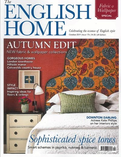 Alusplash splashbacks featured on The english home magazine. Magazine cover showing inspiring ideas for floor and home interior