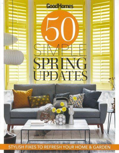Alusplash splashbacks featured on Good Homes magazine. Magazine cover showing a stylish scandi dining room with interior elements
