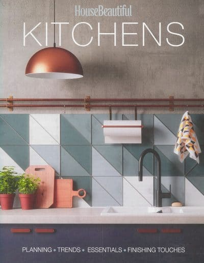 Alusplash splashbacks featured on House beautiful magazine. Magazine cover showing kitchen cabinets and splashback trends with finishing