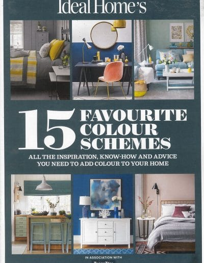 Alusplash splashbacks featured on Ideal Home's magazine. Magazine cover showing stylish color schemes for kitchen cabinets, bed room and drawing room