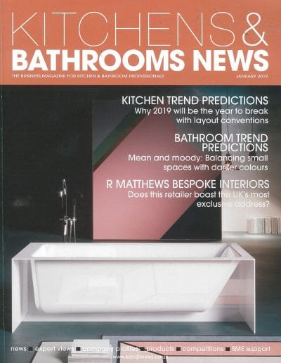 Alusplash splashbacks featured on Kitchens and Bathrooms news magazine. Magazine cover showing a kitchen and bathroom trend predictions