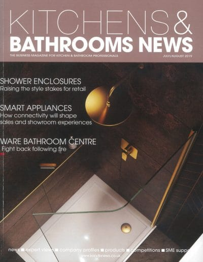 Alusplash splashbacks featured on Kitchens and Bathrooms news magazine. Magazine cover showing bathroom interior with smart appliances