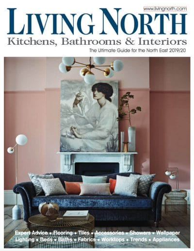 Alusplash splashbacks featured on Living north magazine. Magazine cover showing a kitchen, bathrooms and interiors with pink scandi dining room
