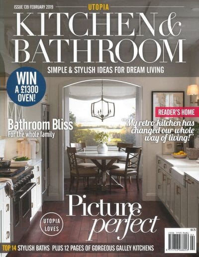 Alusplash splashbacks featured on Utopia kitchen and bathroom magazine. Magazine cover showing a stylish baths and gorgeous gallery kitchens