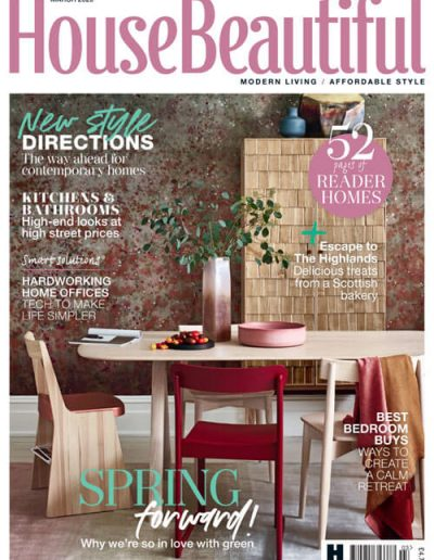 Alusplash splashbacks featured on House Beautiful. House beautiful magazine cover showing a new style directions for modern kitchen and bathrooms