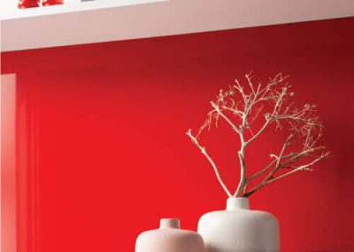 High gloss Juicy Red Alusplash splashback from the Elegance Collection with an interior elements and white shelf