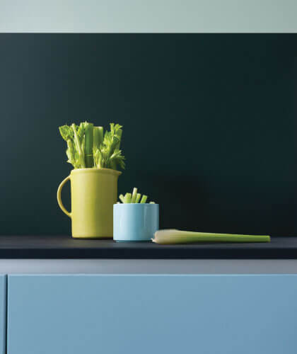 Blue lagoon kitchen cabinets with a Forest Green Alusplash splashback from the matt Elements Collection and celery in a yellow jug