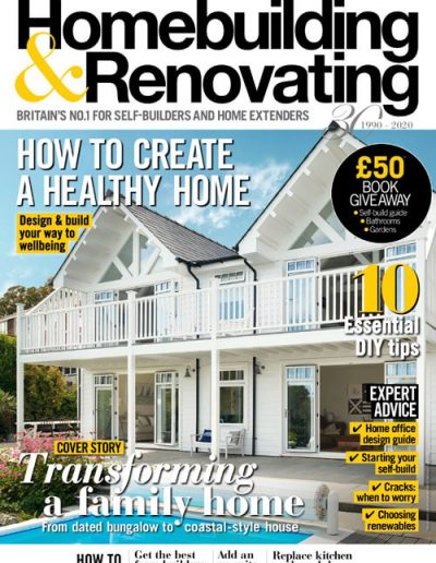 Alusplash splashbacks featured on Home Building and Renovating. Magazine cover showing how to create a healthy home with Alusplash and white family home on cover page. Magazine cover showing a stylish ideas for creative dining room and a lady sitting on sofa
