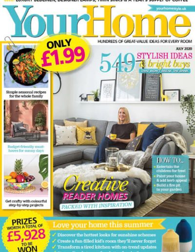 Alusplash splashbacks featured on Your Home magazine. Magazine cover showing a stylish ideas for creative dining room and a lady sitting on sofa