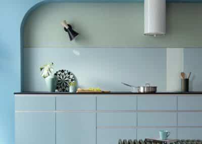 Blue Kitchen backsplash in a glossy finish in a modern blue kitchen